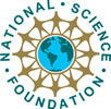 NSF logo, green letters on gold, blue and green earth center